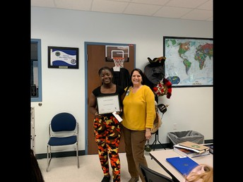 10th Grade student of the month Farah Pierre-Charles