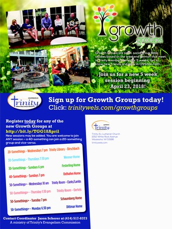 NEW SPRING SESSION OF GROWTH GROUPS LAUNCHED LAST WEEK