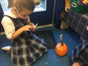 Decorating pumpkins
