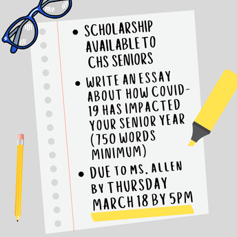 To apply, write an essay (750 words minimum) explaining how Covid-19 has impacted your senior year.