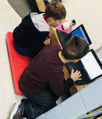 Finding a cozy nook to collaborate on task!