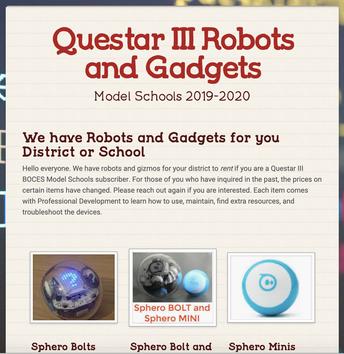 Questar III Robots and Coding Materials