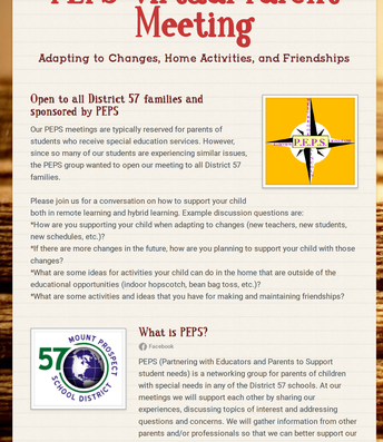 PEPS Virtual Parent Meeting