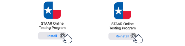 Image of STAAR Online Testing Program with a finger tapping on the Install or Reinstall button.
