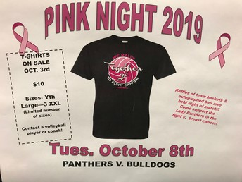 Panther Volleyball:  Pink Night on October 8th