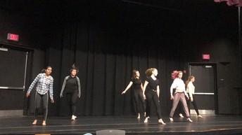 Dancers in Lauren's Intro to Dance class run through a movement assessment