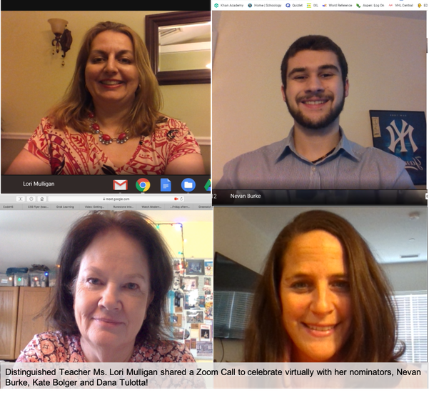 Distinguished Teacher Lori Mulligan shares a screenshot of her celebratory Zoom call with her nominators.