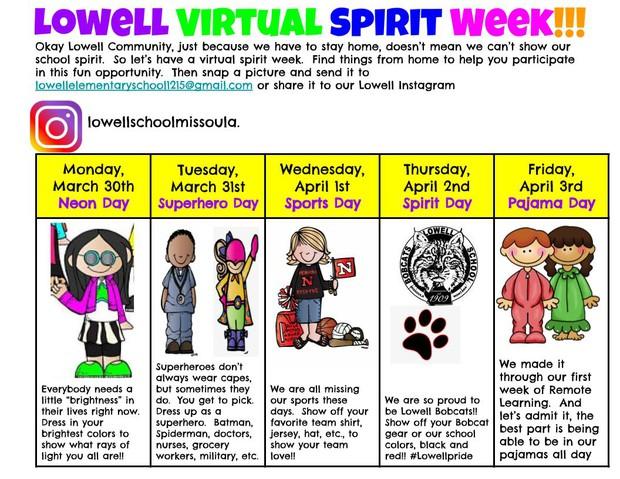 Lowell Virtual Spirit Week!!!