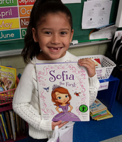 Loving her new bag of books!