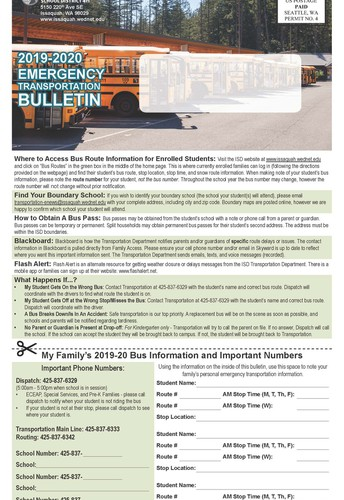ISD Transportation Department Weather Emergency Notification Bulletin - Be Ready for Winter Weather