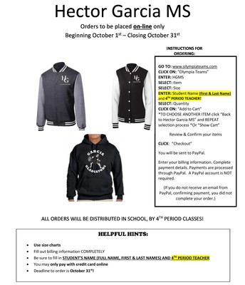 Garcia Gear!  October 31st Last Day To Order!