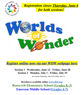 Worlds of Wonder Registration Closes!
