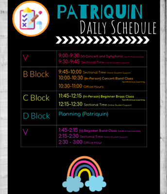 Patriquin Daily Schedule