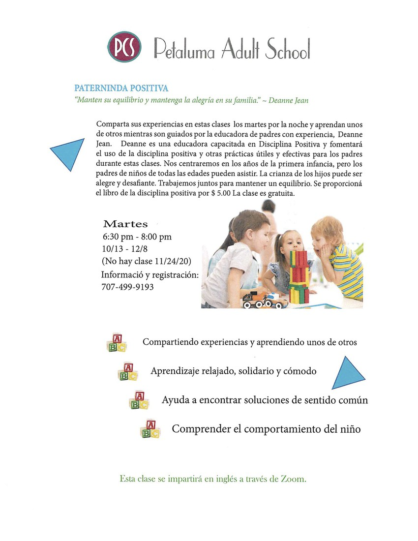 Petaluma Adult School Flyer: Positive Parenting (Spanish)