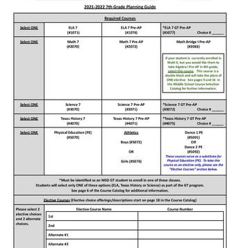 Rising 7th Grade Planning Guide