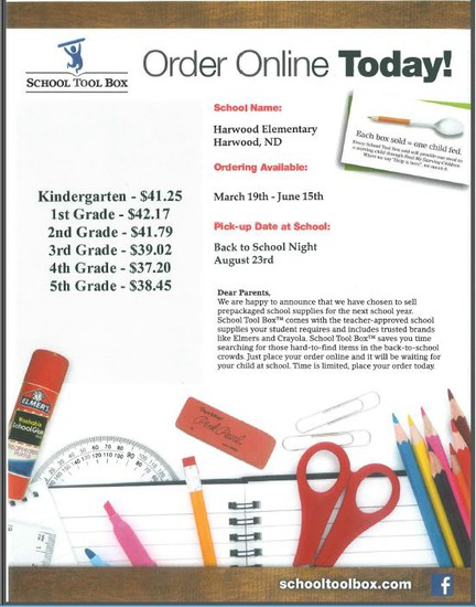 Order School Supplies online for next school year!  Click the photo and visit Schooltoolbox.com and follow the on-sceen instructions to complete your Childs order.