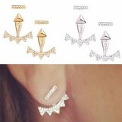 Silver or Gold Pave Triangle Ear Jacket - $30