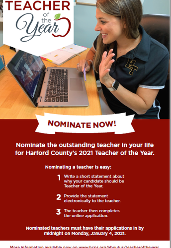2021 HCPS Teacher of the Year - Nominate Someone Today!