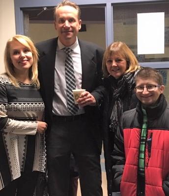 Former Pta President Arina Bokas, Denise Casper, and former student Cody Passmore