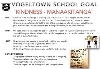 SCHOOL GOAL: KINDNESS - MANAAKITANGA