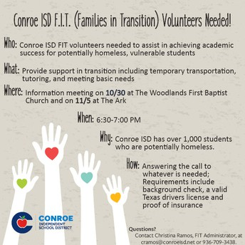 Conroe ISD FIT (Families In Transition) Volunteers Needed!