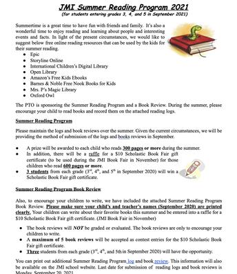 Summer Reading Program Flyer