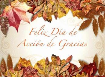 noviembre 19-23  Vacaciones de Acción de Gracias