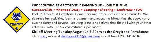 Cub Scout Meeting at Greystone Farms on Tuesday August 14th 6:30 pm