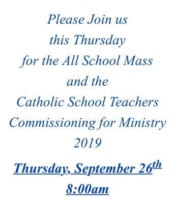 Special Mass this Thursday, September 26th