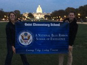 Mr. Reynolds and Mrs. Thomas with our GES Banner on Election night  at the Capitol!