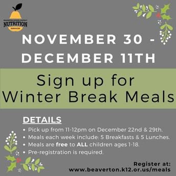 SIGN UP FOR WINTER BREAK MEALS