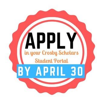 Crosby Scholarships Deadline Extended until April 30
