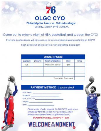 "OLGC CYO ""Night at the Sixers"""