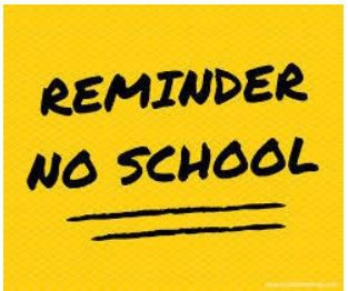 Reminder - No School on Friday, Sept. 4th and Monday, Sept. 7th due to Labor Day Holiday