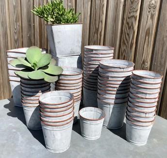 Zinc plant pots