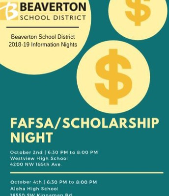 FASFA Night October 4th at 6:30