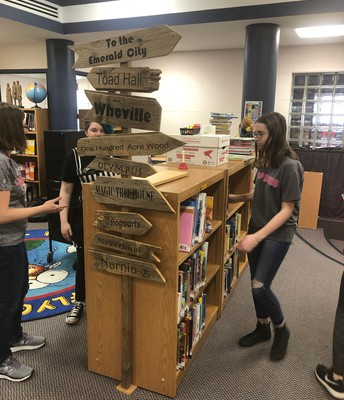 Thanks to the High School GSA club for helping us move books and shelves!