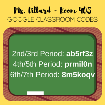 Ms. Dillard's Class Codes