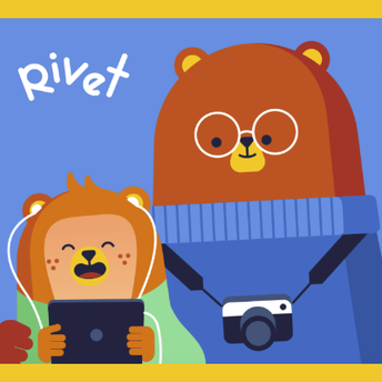 This is an image of a cartoonish young bear cub and its parent reading an electronic book on a tablet device. This image is also a link to the Rivet website.