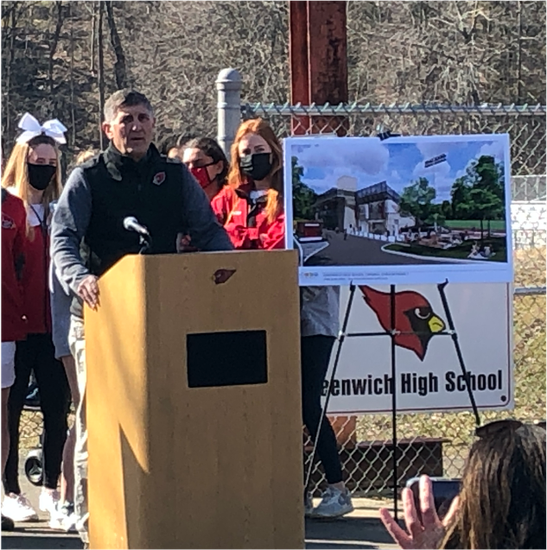 Gus Lindine shares remarks at the Cardinal Stadium Groundbreaking Ceremony