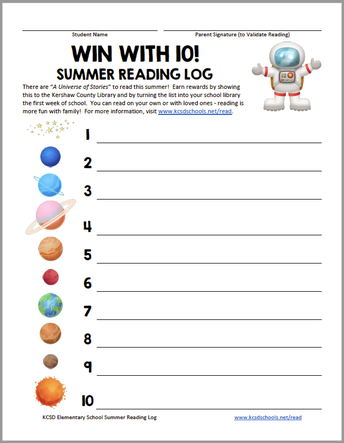 Win with 10! Elementary Summer Reading Log