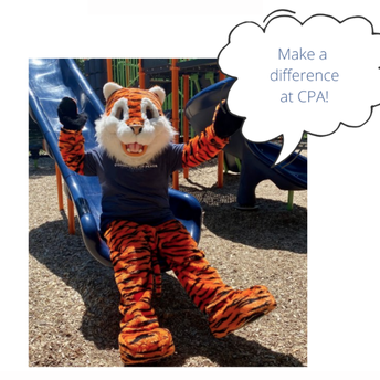 """Rusty the tiger sitting on the CPA slide saying """"Make a difference at CPA!"""""""