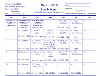 OLGC School Lunch Survey & March Menu
