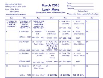 March 2018 Lunch Menu