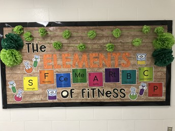 "This month our Wellness Bulletin Board is featuring the ""Elements of Fitness"""