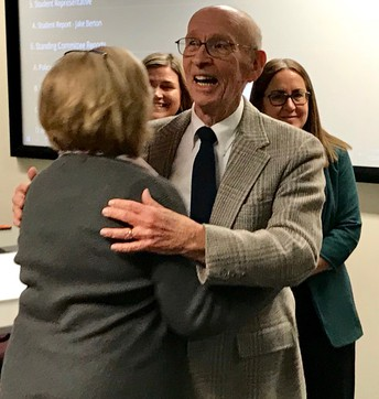 The education foundation and school board honored Dr. Robert L. Leight