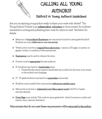 2018 Young Authors Guidelines