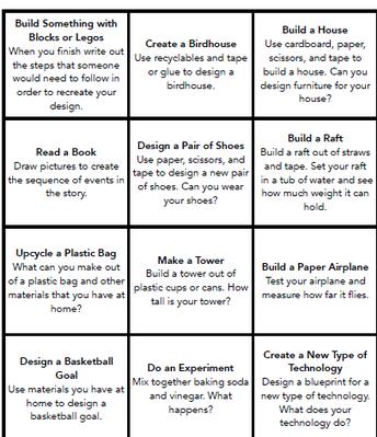 STEM At Home Challenge List #3
