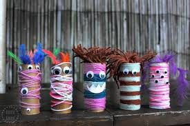 String Toilet Paper Roll Monsters: