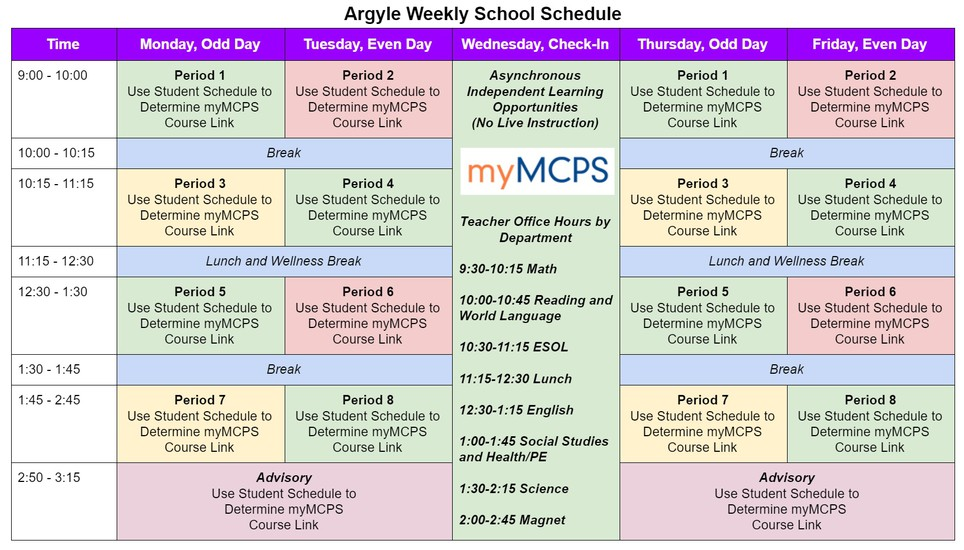 Argyle Virtual Schedule